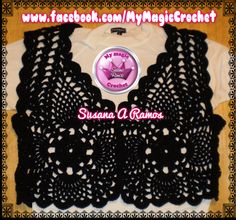 Black Crochet Vest, https://www.etsy.com/your/shops/MyMagicCrochetUS