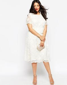 Registry office/Intimate garden wedding dress ASOS CURVE Midi Dress With Lace Crop Top