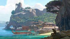 Port Town from Assassin s Creed Odyssey #art #illustration #artwork #gaming #videogames #gamer Fantasy landscape Fantasy island Assassins creed odyssey