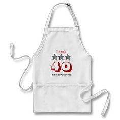 40th Birthday or ANY AGE Striped Stars Custom Name Apron   To see more customizable striped Jaclinart gift items:   http://www.zazzle.com/jaclinart+striped+gifts?st=date_created&ps=120  #stripes #striped #pattern #jaclinart #design #create