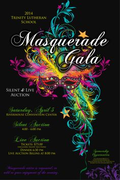 Masquerade Ball themed auction. Poster, charity, fundraiser, school, church, non-profit. I would love to customize this for your event! Please contact me for details.