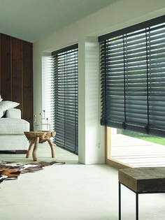 Dark grey wooden venetian blind with matching ladder tape, also available in other colour choices Window Blinds, Blinds For Windows, Types Of Blinds, Koti, Venetian, Window Treatments, Dark Grey, Ladder, Choices