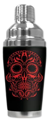 Mugzie® brand 16-Ounce Cocktail Shaker with Insulated Wetsuit Cover - Red Sugar Skull by Art Plates. $25.95. Hand-sewn fabric cover is made from 1/4 inch closed-cell neoprene that is covered with soft, water-proof polyester fabric.. 16 Oz Stainless Steel Cocktail Shaker covered with water-proof, neoprene wetsuit material.. Stain-resistant cover is printed in hi-resolution and has full-wrap coverage. Leak and spill proof lid. Non-skid bottom.. Patent Pending. Truly unique....