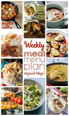 Weekly Meal Plan Week 63 – 10 great bloggers bringing you a full week of recipes including dinner, sides dishes, and desserts!