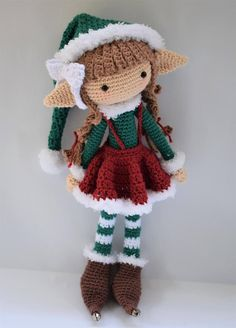 Bell the Elf Crochet Doll Pattern / Amigurumi / Photo Tutorial - SleepySheepPatternsNote: This listing is for a crochet pattern only - it is not the finished doll!Have you been taking a look at crochet doll head patternCrochet&Knitting For Happy Baby Crochet Amigurumi, Crochet Bear, Crochet Doll Pattern, Crochet Toys Patterns, Cute Crochet, Amigurumi Doll, Amigurumi Patterns, Stuffed Toys Patterns, Crochet Dolls