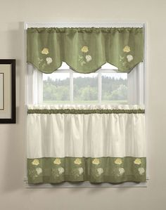 Painting Walls Tips Diy Shades 58 New Ideas Green Kitchen Curtains, Kitchen Curtains And Valances, Swag Curtains, Cafe Curtains, Interior Paint Colors, Room Interior, Interior Painting, Gray Interior, Tuscan Curtains