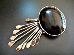 Sterling Onyx Brooch Pendant Black Oval by RenaissanceFair on Etsy