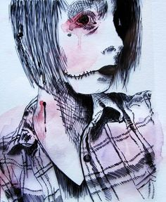 Tim Burton inspired student self portrait using Sharpie on transparency with a watercolor ground - Conway High School Art Project Lessons Learned, Art Lessons, Student Self Portraits, High School Art Projects, Upper House, Swipe File, Drawing Projects, Middle School Art, Arts Ed