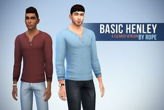 Basic Henley, cleaner version for The Sims 4    This shirt was one of my first creation for the Sims 4, when we only had the CAS Demo. Later, I made it a standalone item, but the textures needed some adjustments. Like the original one, this henley shirt isavailable for teen to elder men, with 15 plain colors.    This new version will replace the older one, so don't forget to remove the old file.         Download : SimFileShare orMediafire        And if you like my creations, feel free to…