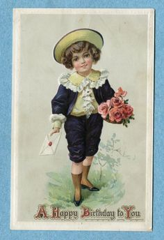 """G5100 Postcard Tuck Embossed """"A Happy Birthday To You"""" Boy With Roses"""