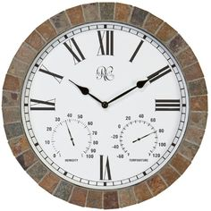 River City Clocks Tile Indoor/Outdoor 15 in. Wall Clock with Temperature & Humidity - Wall Clocks at Hayneedle