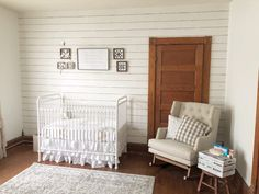 A Farmhouse Nursery Inspired by The Velveteen Rabbit - rustic white shiplap nursery