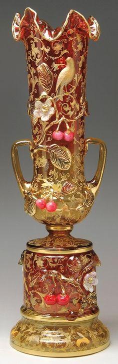 Ornate Moser bohemian glass vase, late 19th century.