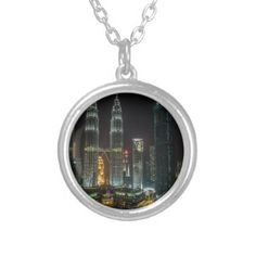 Kuala Lumpar Skyline At Night Silver Plated Necklace - jewelry jewellery unique special diy gift present