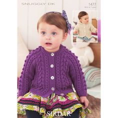 Sirdar Knitting Patterns, Baby Hat Knitting Pattern, Crochet Patterns, Cable Cardigan, Cardigan Pattern, Hooded Cardigan, Baby Boy Cardigan, Knitting For Kids, Knitting Ideas