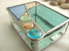 Pale Aqua Peach and Blue Hand Crafted Stained Glass by JiSTglass, - love the colors and the bevels on the sides.