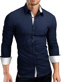 Grin&Bear Herren Hemd mit Kontrasten SH510 navy-weiss Gr. M