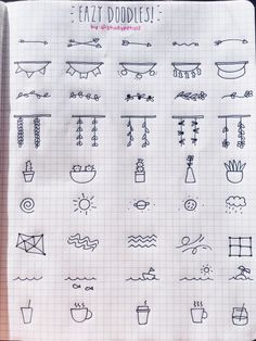 """studyplants: """" studypetals: """" 8.8.16+7:38pm // 102/100 days of productivity // made an easy/simple doodles reference page! this is dedicated to the people that ask me how they can add stuff to their journal but don't have an """"artsy"""" side. i hope this..."""