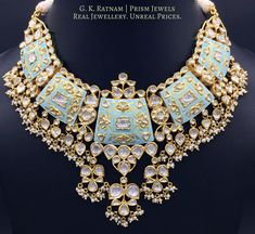 Diamond Polki | Vilandi | Polki | Uncut diamonds | Old cut diamonds | Traditional | Indian | Bridal | Wedding | Kundan Meena | Jadau | Jadtar | Hallmarked | Gold | Enamel | Jewelry | Jewellery | Necklaces | Necklace Sets