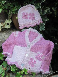 KNITTING PDF PATTERN - Flower Baby - Baby's cardigan and hat by SleakeKnits on Etsy https://www.etsy.com/listing/79115358/knitting-pdf-pattern-flower-baby-babys