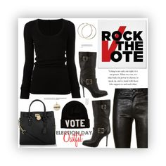 """My Election Day Outfit"" by fassionista ❤ liked on Polyvore featuring Olsenboye, Paige Denim, Jimmy Choo, DRKSHDW, Reason, Michael Kors, Rembrandt Charms, fashionset, rockthevote and electionday"