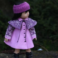 """Radiant Orchid """"Ginza"""" Coat Dress with Detachable Cape and Knitted Band by foxandfamily on Etsy  $95.00"""