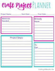Craft Project Planner Printable http://www.craftingabeautifullife.com/craft-project-planner-printable/