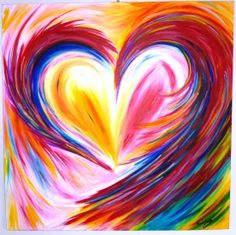 Heart prophetic art painting with rainbow colors
