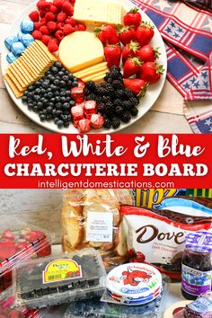 How to style a Charcuterie board or cheese board for a Patriotic party. Tips for styling a charcuterie board and a list of foods to use. #charcuterie #cheeseboard Patriotic Crafts, Patriotic Party, Patriotic Decorations, Blue Food, Charcuterie Board, Blue Cheese, Food Lists, Red White Blue, 4th Of July
