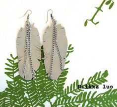 Light grey leather feather earrings with a by RiikkaLuoDesigns Feather Earrings, Dangle Earrings, Grey Leather, Leather Jewelry, Plant Leaves, Dangles, Chain, Silver, Etsy
