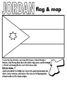 Jordan Flag Coloring Sheet Complete With Country Facts Great For Shalis Desert Home Story Lesson