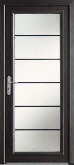 Porte d'entrée aluminium contemporaine grand vitrage