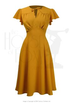 1940s Style Dresses and Clothing 40s Grable Tea Dress - Mustard £99.00 AT vintagedancer.com