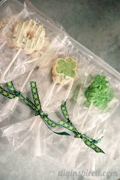 Easy St. Patrick's Day cookie lollipops from store bought holiday cookies.