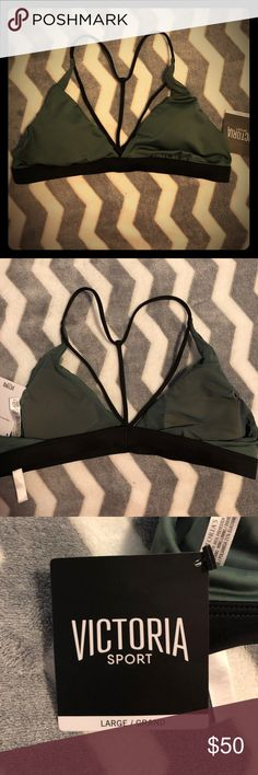 VS Sports Bra Olive Green and Black. Almost like a swimsuit material. Victoria's Secret Intimates & Sleepwear Bras