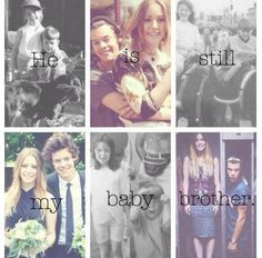 """So, I posted this picture on Twitter and tagged Gemma, Anne and Harry in the tweet because, you know, why not? Minutes after I tweeted it THE GEMMA STYLES retweeted and said, """"Aww that so sweet and yes he stills my baby brother xx"""" THEN later HARRY favorited and retweeted it!!!! :D ASDFGHJKL; Next part coming in a moment! :D <3 Harry Styles Family, Gemma Styles, Bae, Irish Boys, Treat People With Kindness, 1d And 5sos, Harry Edward Styles, Larry Stylinson, Cool Bands"""