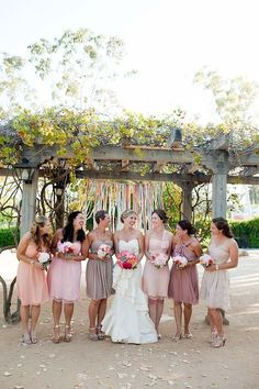 Beautiful color scheme for bridesmaids dresses | Via Twig & Twine