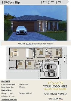 affordable architecture design & home builders brochures house plans narrow lot study. Dream House Plans, Modern House Plans, Small House Plans, Architecture Design, Plans Architecture, 2 Bedroom House Design, Bedroom House Plans, Duplex Floor Plans, House Floor Plans