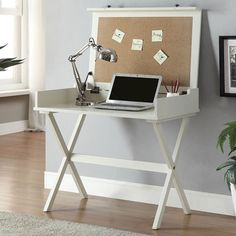 White Desk Computer Student Space Saving Dorm Desks Office Furniture Work Table #Alice #chic