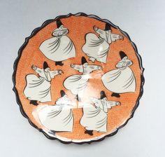 WHIRLING DERVISH CERAMIC PLATE, ORANGE , 18 cm