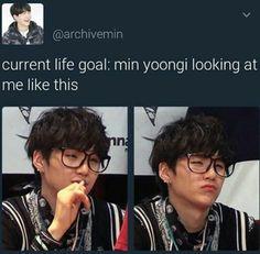 My current life goal is for Min Yoongi to look at me period 🤣🤣 Bts Boys, Bts Bangtan Boy, Jimin, Bts Jin, Famous Meme, K Pop, Suga Swag, Namjoon, Hoseok