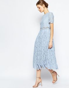 ASOS Lace Crop Top Midi Prom Dress - Baby Blue