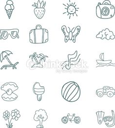 Hand draw vector icons set. summer vacation. Vector illustration