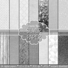 """Silver digital paper: """"SILVER TEXTURES"""" with silver glitter, linen, burlap, canvas, lace, damask, wood background/backdrop for photographers"""