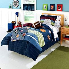 Simple Kids Bedroom with 1 Drawer Wooden Bedside Table and 7 Piece Sports Boys Basketball Full Bedding Sets. 7 bedroom designs in Basketball Bedding For Boys gallery Kohls Bedding Sets, Mens Bedding Sets, Full Comforter Sets, Luxury Bedding Sets, Boys Sports Bedding, Basketball Bedding, Baby Boy Bedding, Basketball Floor, Buy Basketball