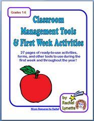 Classroom Management Tools & First Week Activities Grades 1-6