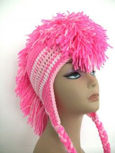 Mohawk Crochet Hat Shades of Pink Made to Order Breast Cancer Awareness