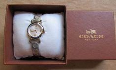Coach Madison Logo Gold two tone Bracelet Watch band Crystal 14501689 #Coach #Fashion