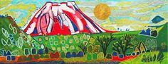'Auspicious Mt. Fuji (2015)' lithograph by Tamako KATAOKA Japanese Painting, Japanese Art, Japanese Mountains, Mount Fuji, Mountain Paintings, Biography, Artist, Artwork, Prints