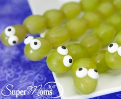 Healthy snacks for kids | Spring healthy snacks for kids | grapes | fruit kabobs | fruit Kebobs | Caterpillar Kabobs | These easy-to-make and healthy to eat treats will be a hit with moms and kids. What You'll Ne...